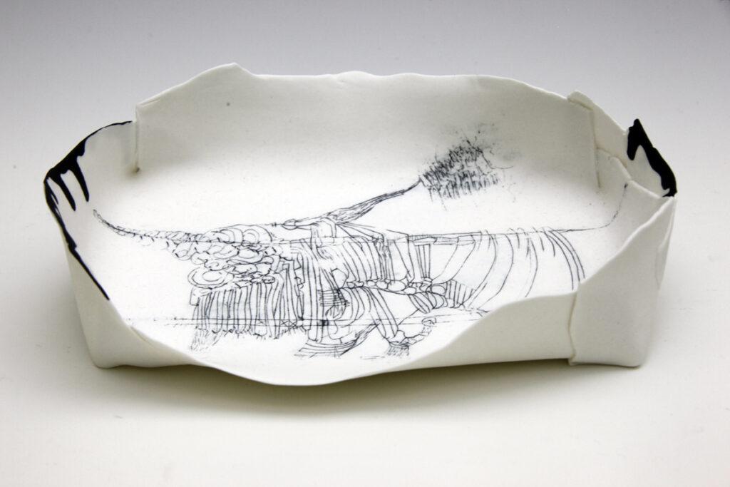 Aufgespannt - Faltschale, ca. 25cm breit