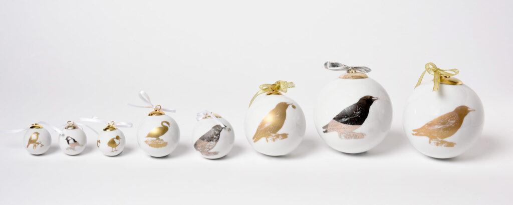 Weihnachtskugeln Vogel gold /platin