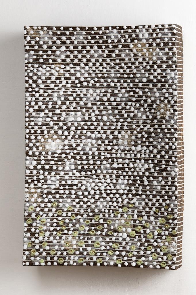 Wandobjekt, Steinzeug, Porzellaninlays, Goldauflage