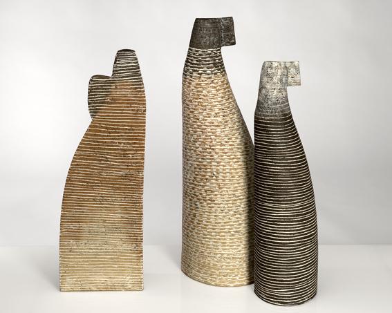 Familie, Steinzeug mit Porzellaninlays