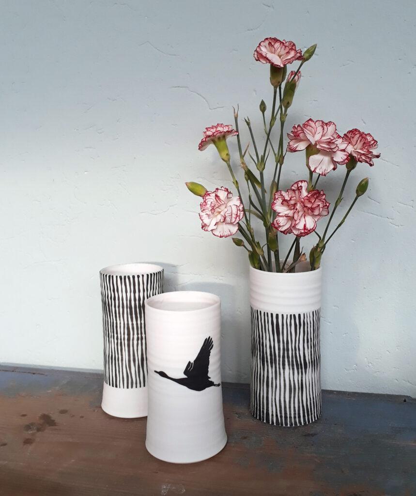 Gedrehte Porzellan Vasen, Streifen und Kranich