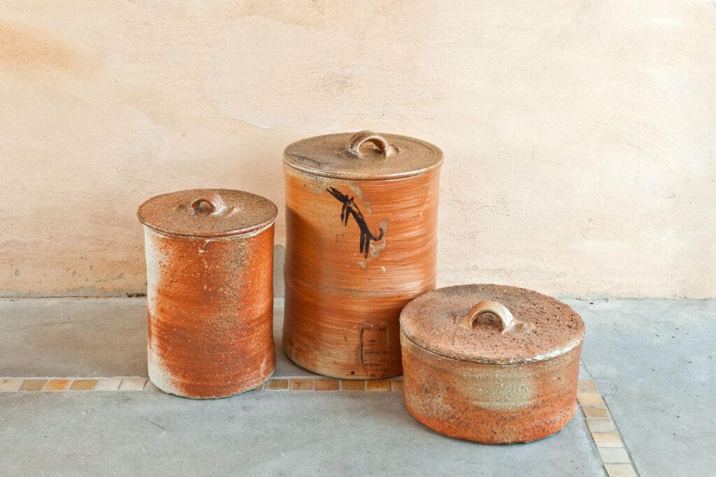 drei Brottöpfe (belüftet), Salzglasur, Holzfeuer